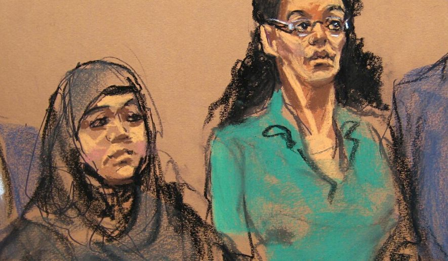FILE- In this April 2, 2015 courtroom sketch, defendants Noelle Velentzas, left and Asia Siddiqui, appear at federal court in New York. The two women arrested last month for plotting to build a homemade bomb and wage jihad in New York City pleaded not guilty Thursday, May 7, 2015,  during a brief court appearance in a Brooklyn federal courthouse.(AP Photo/Jane Rosenberg, File)