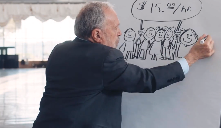 """Former U.S. Labor Secretary Robert Reich and MoveOn.org Civic Action launched a series of web videos in an interactive online campaign to test out ideas from the liberal agenda, starting with videos promoting a $15 minimum """"living wage"""" and other laws to help working families."""
