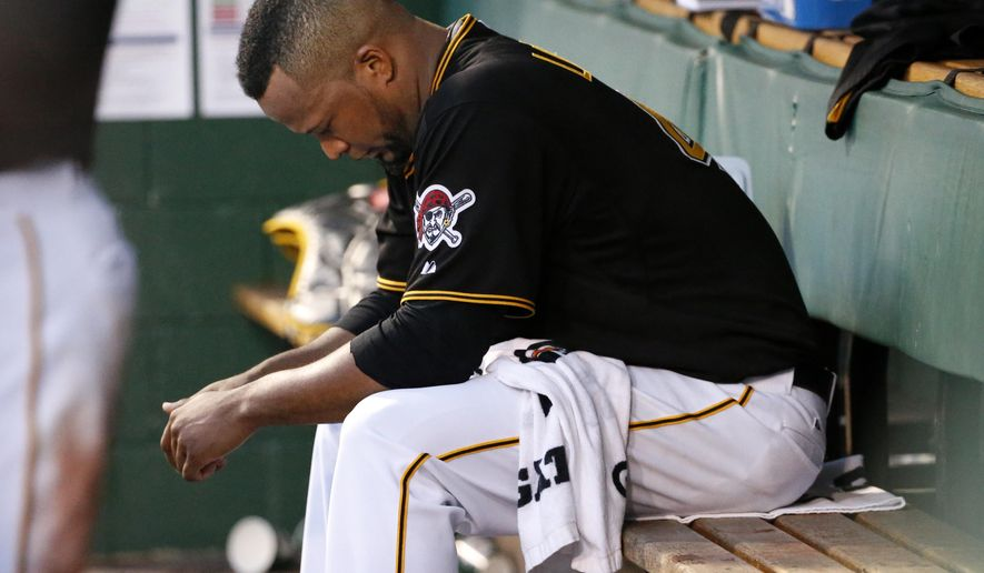 Pittsburgh Pirates starting pitcher Francisco Liriano sits in the dugout during the fourth inning of a baseball game against the St. Louis Cardinals, Friday, May 8, 2015, in Pittsburgh. (AP Photo/Gene J. Puskar)