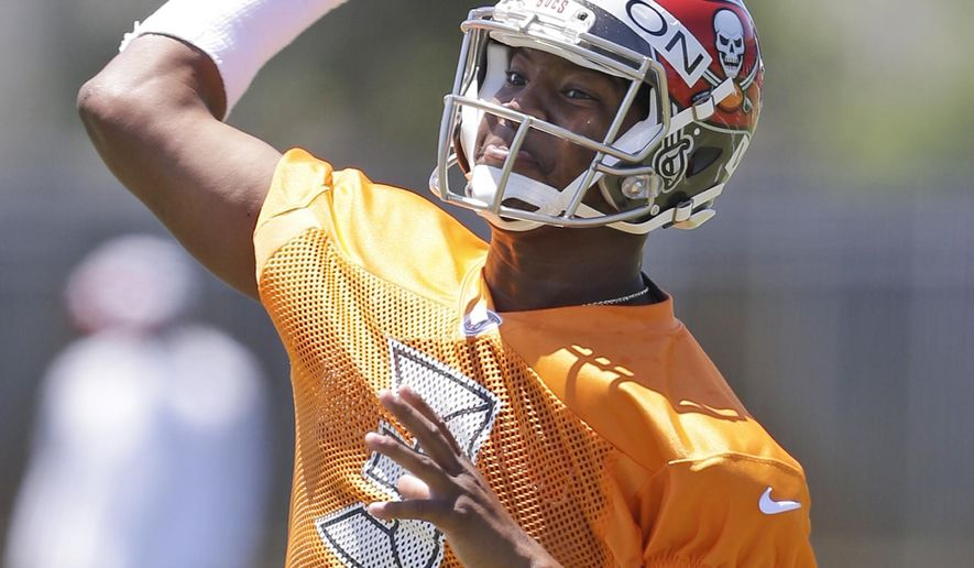 Tampa Bay Buccaneers quarterback Jameis Winston throws during drills at an NFL rookie minicamp in Tampa, Fla., Friday, May 8, 2015. (AP Photo/Wilfredo Lee)