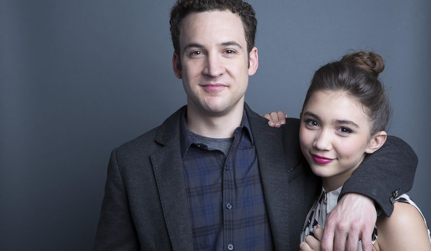 """FILE - In this Monday, June 23, 2014 file photo, actors Ben Savage, left, and Rowan Blanchard, from the Disney Channel series """"Girl Meets World"""" pose for a portrait, in New York. The show premieres its second season on Monday, May 11, 2015, at 8:30 p.m. on Disney Channel. (Photo by Amy Sussman/Invision/AP, File)"""