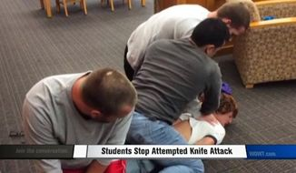 Brandon Valle, an Army soldier and student at the University of Nebraska Omaha, is being hailed a hero after he helped take down a knife-wielding attacker at the college library. (WOWT)