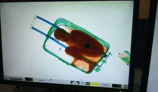 In this photo released by the Spanish Guardia Civil on Friday, May 8, 2015, a boy curled up inside a suitcase is seen on the display of a scanner at the border crossing in Ceuta, a Spanish city enclave in North Africa. A Spanish court has ordered the detention of a father who allegedly hid his 8-year-old son inside a closed suitcase in an attempt to smuggle the child illegally into Europe. (AP Photo/Spanish Interior Ministry, via AP)