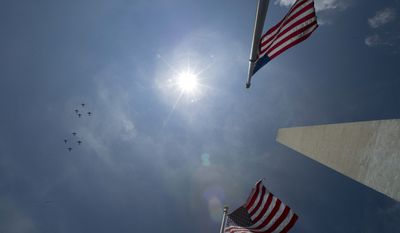 World War II era North American AT-6/SNJ planes fly over the Washington Monument in Washington, Friday, May 8, 2015, as part of the Arsenal of Democracy Flyover to celebrate the 70th anniversary of V-E Day. (AP Photo/Cliff Owen)