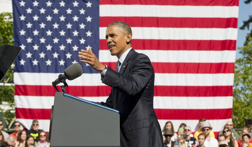 President Barack Obama speaks at Nike headquarters in Beaverton, Ore., Friday, May 8, 2015. Obama visited the giant athletic apparel company to make his trade policy pitch as he struggles to win over Democrats for what could be the last major legislative push of his presidency. (AP Photo/Pablo Martinez Monsivais)