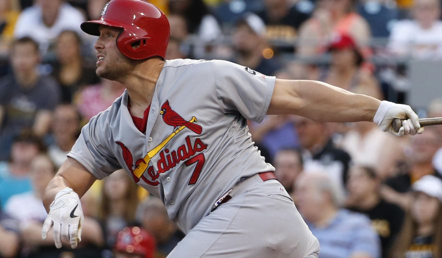 St. Louis Cardinals' Matt Holliday hits a three-run home run off Pittsburgh Pirates starting pitcher Francisco Liriano in the third inning of a baseball game Friday, May 8, 2015, in Pittsburgh. (AP Photo/Gene J. Puskar)