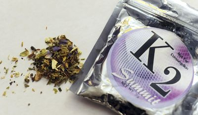 This Feb. 15, 2010, file photo shows a package of K2 which contains herbs and spices sprayed with a synthetic compound chemically similar to THC, the psychoactive ingredient in marijuana. According to the American Association of Poison Control Centers, more than 1,500 people in several states became ill in April 2015 from smoking synthetic marijuana sold under several brand names, including K2, Spice, Crazy Clown and Scooby Snax. (AP Photo/Kelley McCall, File)