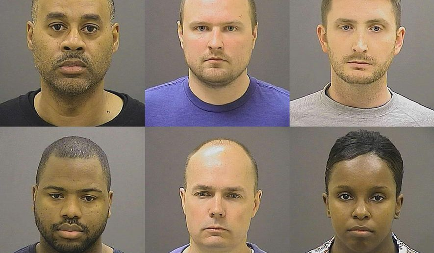 File-This file photo provided by the Baltimore Police Department on Friday, May 1, 2015 shows, top row from left, Caesar R. Goodson Jr., Garrett E. Miller and Edward M. Nero, and bottom row from left, William G. Porter, Brian W. Rice and Alicia D. White, the six police officers charged with felonies ranging from assault to murder in the death of Freddie Gray. Attorneys for the six  officers asked a judge Friday, May 8, 2015, to dismiss the case or assign it to someone other than the city's top prosecutor, who they say has too many conflicts of interest to remain objective.(Baltimore Police Department via AP, File)