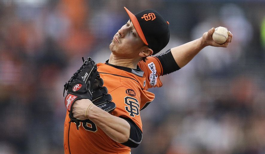 San Francisco Giants Tim Lincecum works against the Miami Marlins in the first inning of a baseball game Friday, May 8, 2015, in San Francisco. (AP Photo/Ben Margot)