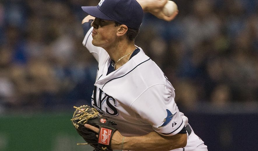 Tampa Bay Rays reliever Andrew Bellatti pitches against the Texas Rangers during the ninth inning of a baseball game Saturday, May 9, 2015, in St. Petersburg, Fla. Bellatti earned the win, pitching three innings in relief. The Rays defeated the Rangers 7-2. (AP Photo/Steve Nesius)