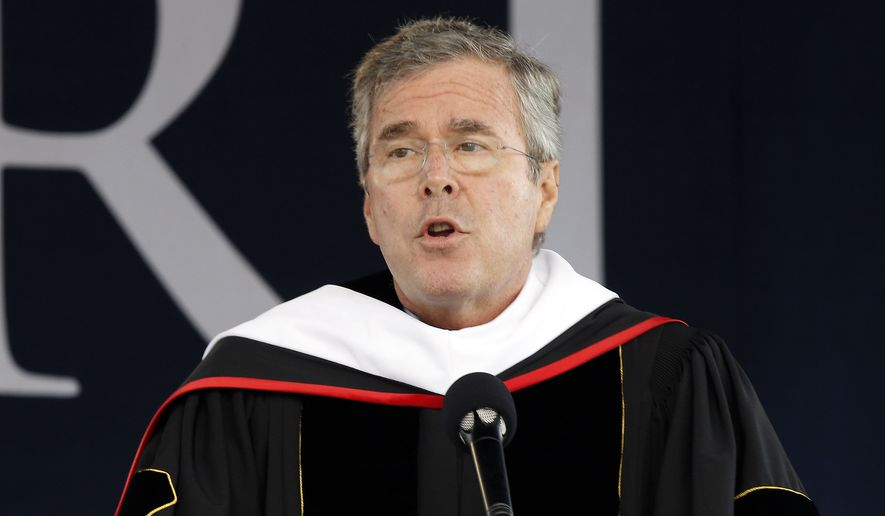 Former Florida Gov. Jeb Bush delivers the commencement address at Liberty University in Williams Stadium at the school in Lynchburg, Va., Saturday, May 9, 2015. (Associated Press) ** FILE **
