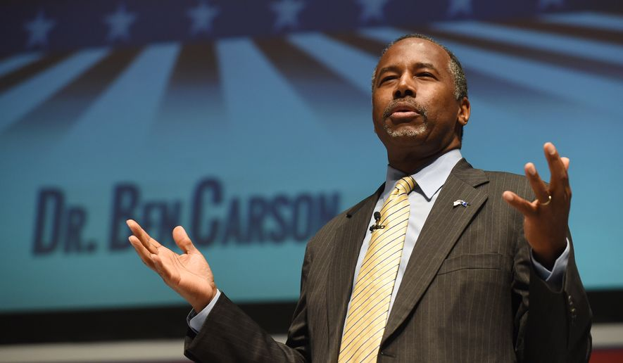 Republican presidential candidate Ben Carson speaks at the Freedom Summit, Saturday, May 9, 2015, in Greenville, S.C. Republicans making their pitch to be the party's 2016 presidential nominee aimed to out-do each other Saturday in arguing that President Barack Obama is a failed leader. (AP Photo/Rainier Ehrhardt)
