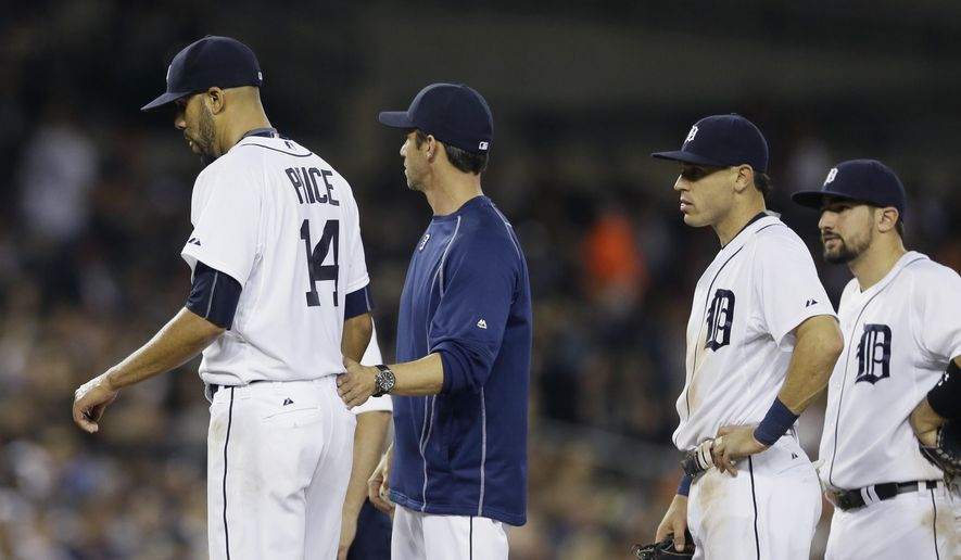 Detroit Tigers starting pitcher David Price, left, walks back to the dugout after being relieved by manager Brad Ausmus during the seventh inning of a baseball game against the Kansas City Royals, Friday, May 8, 2015, in Detroit. Looking on is third baseman Nick Castellanos, right, and Ian Kinsler. (AP Photo/Carlos Osorio)