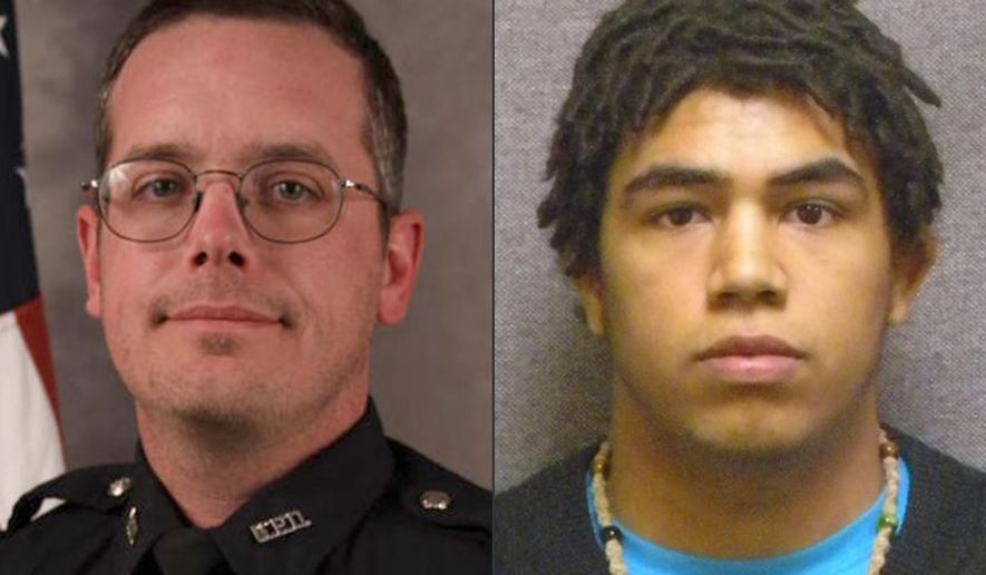 This combination made with file photos provided by the Madison, Wis. police department and Wisconsin Department of Corrections shows Officer Matt Kenny, left, and shooting victim Tony Robinson. A Wisconsin prosecutor said he will announce on Tuesday, May 12, 2015 whether charges will be filed against Kenny, who fatally shot the unarmed Robinson, 19, in an apartment house on March 6 in Madison. (Madison Police Department/Wisconsin Department of Corrections via AP)
