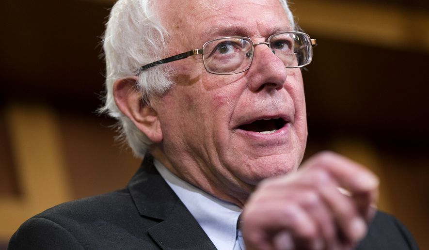 In this May 6, 2015, photo, Democratic presidential candidate Sen. Bernie Sanders, I-Vt., speaks during a news conference on Capitol Hill in Washington, Wednesday, May 6, 2015. Once a democratic socialist, always a democratic socialist. Once a scold of big money in politics, still a scold. No one can accuse Sanders of flip-flopping over his four decades in public life. Rock steady, he's inhabited the same ideological corner from which he now takes on Hillary Rodham Clinton in an improbable quest for the Democratic presidential nomination. (AP Photo/Evan Vucci)