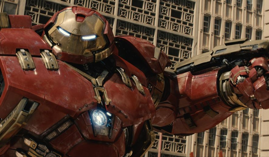 """This photo provided by Disney/Marvel shows, Hulkbuster in a scene from the new film, """"Avengers: Age Of Ultron."""" The movie opened in theaters in the U.S. on May 1, 2015.  (Film Frame/Disney/Marvel via AP)"""