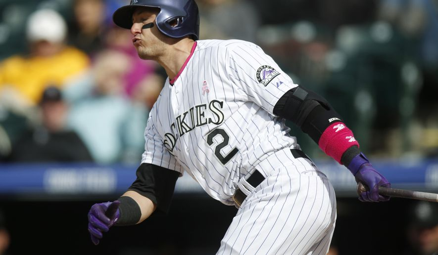 Colorado Rockies shortstop Troy Tulowitzki reacts as he strikes out with the bases loaded on a pitch from Los Angeles Dodgers relief pitcher Pedro Baez to end the in the sixth inning of a baseball game Sunday, May 10, 2015, in Denver. The Dodgers won 9-5. (AP Photo/David Zalubowski)