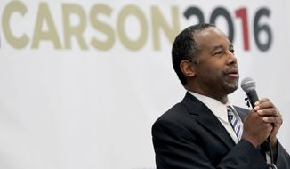 Republican presidential candidate and retired neurosurgeon Ben Carson speaks during an event at Manchester Community College, Sunday, May 10, 2015, in Manchester, N.H. (Associated Press) ** FILE **