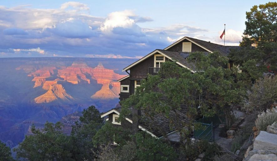 This undated photo provided by the National Park Service shows Kolb Studio on the Grand Canyon's South Rim in Grand Canyon National Park, Arizona. Park officials will celebrate the completion Saturday of a two-year renovation of the iconic, cedar-shingled property. (AP Photo/National Park Service, Mike Quinn)
