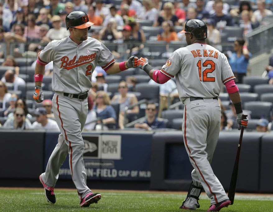 Baltimore Orioles' Alejandro De Aza, right, greets teammate J.J. Hardy after Hardy hit a solo home run during the second inning of the baseball game against the New York Yankees at Yankee Stadium, Sunday, May 10, 2015, in New York. (AP Photo/Seth Wenig)