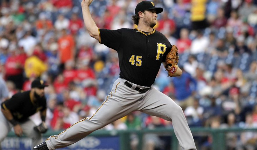 Pittsburgh Pirates starting pitcher Gerrit Cole throws against the Philadelphia Phillies in the first inning of a baseball game Monday, May 11, 2015, in Philadelphia. (AP Photo/H. Rumph Jr)