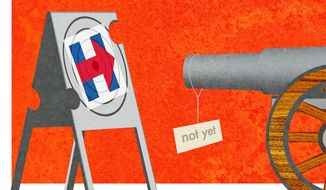Illustration on the need to hold fire on attacking Hillary Clinton by Alexander Hunter/The Washington Times