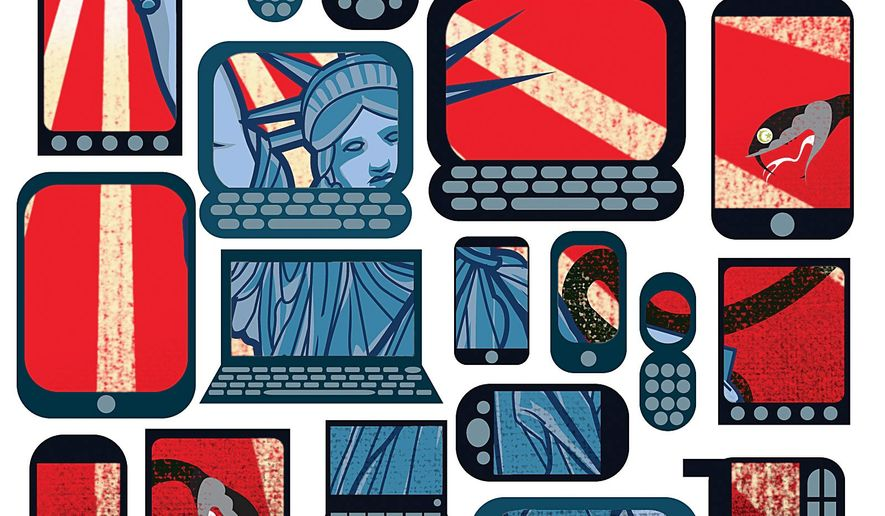 Illustration on strategies to spread Western culture to the Islamic world by Linas Garsys/The Washington Times