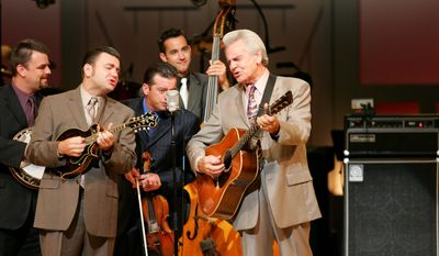 Multi-Grammy Award-winning member of the Grand Ole Opry Del McCoury (right) marvels at the artistry of other musicians, starting with his former bandleader, Bill Monroe, and on through the dozens of artists who have played with Mr. McCoury at various events, including at DelFest.