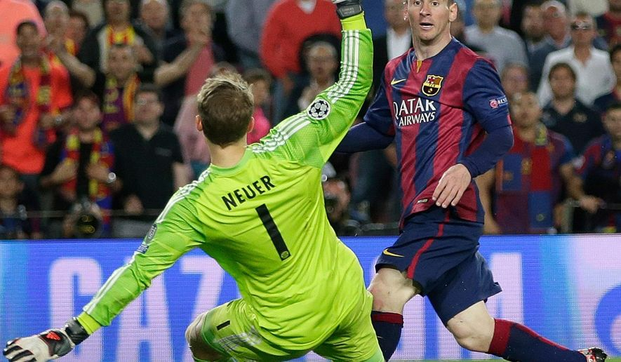 FILE - In this Wednesday, May 6, 2015 file photo Barcelona's Lionel Messi, right, scores his second goal past Bayern's goalkeeper Manuel Neuer during the Champions League semifinal first leg soccer match between Barcelona and Bayern Munich at the Camp Nou stadium in Barcelona, Spain.  (AP Photo/Emilio Morenatti, File)