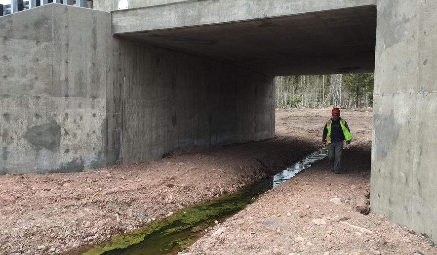 Mike Livergood, a civil engineer with the Montana Department of Transportation, walks underneath Montana Highway 200 near Lincoln, protected in a 10-foot-tall, 20-foot-wide tunnel, as trucks and cars rumbled overhead. Keeping animals and motorists safe is the aim of two wildlife underpasses that were incorporated into a $10.6 million reconstruction of a 7.2-mile stretch of Highway 200 just east of here, at a cost of $700,000.  (Karl Puckette/The Great Falls Tribune via AP)  NO SALES