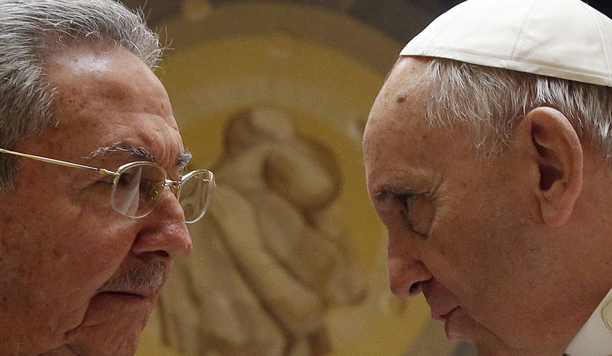 Pope Francis meets Cuban President Raul Castro during a private audience at the Vatican, Sunday, May 10, 2015. Cuban President Raul Castro has been welcomed at the Vatican by Pope Francis, who played a key role in the breakthrough between Washington and Havana aimed at restoring U.S.-Cuban diplomatic ties. (AP Photo/Gregorio Borgia, Pool)