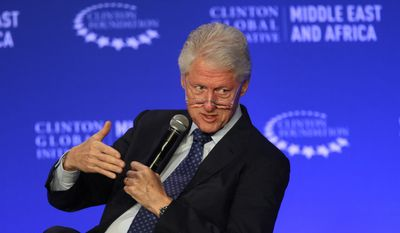 Former U.S President Bill Clinton speaks during a plenary session at the Clinton Global Initiative Middle East & Africa meeting in Marrakech, Morocco, int his May 6, 2015, file photo. (AP Photo/Abdeljalil Bounhar)