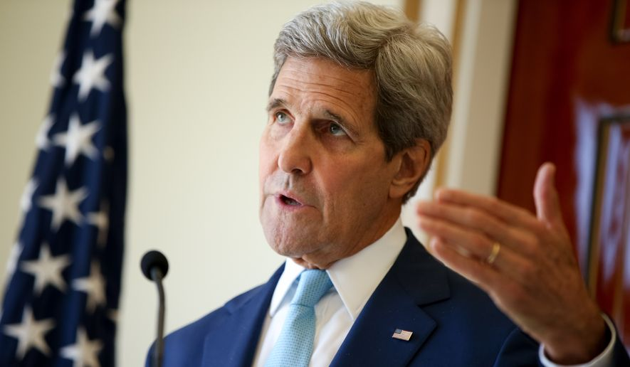 U.S. Secretary of State John Kerry speaks during a joint press conference with Foreign Minister Mahamoud Ali Youssouf at the Presidential Palace, in Dijbouti in this May 6, 2015, file photo.  The State Department says Secretary of State John Kerry will travel to Russia this week for talks with Russian President Vladimir Putin. (AP Photo/Andrew Harnik)