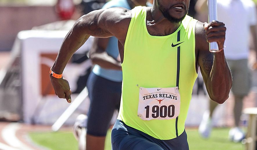 FILE - In this March 28, 2015, file photo, Justin Gatlin, of USA Blue, races toward the finish line in the men's 400-meter invitational at the Texas Relays track and field meet in Austin, Texas. Gatlin ruled the track last season in a very Usain Bolt-like fashion: 18 races and 18 not-gonna-catch-him victories. (Rodolpfo Gonzalez/Austin American-Statesman via AP, File) AUSTIN CHRONICLE OUT, COMMUNITY IMPACT OUT; INTERNET AND TV MUST CREDIT PHOTOGRAPHER AND STATESMAN.COM; MAGS OUT