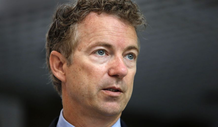 Republican presidential  candidate, Sen. Rand Paul, R-Ky. speaks to a group of business leaders, Monday, May 11, 2015, in Manchester, N.H. (AP Photo/Jim Cole)