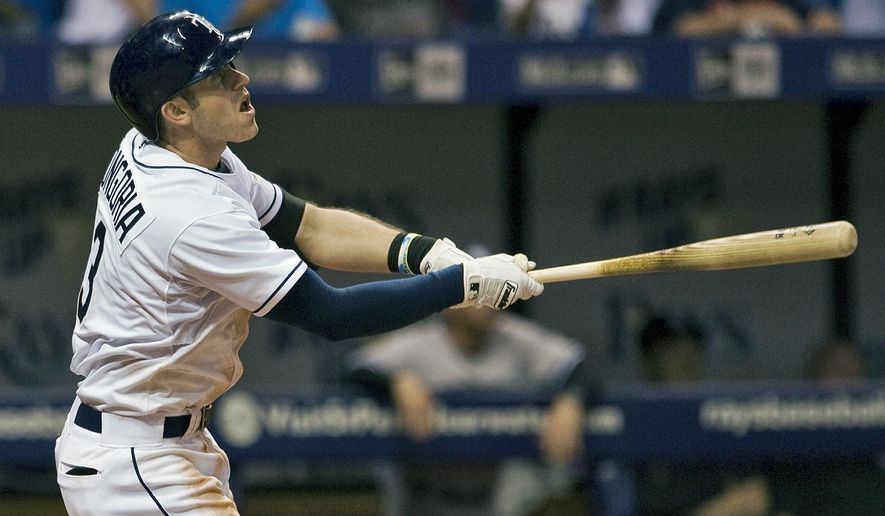 Tampa Bay Rays' Evan Longoria hits a sacrifice fly to deep center to drive in Kevin Kiermaier during the eighth inning of a baseball game against the New York Yankees Tuesday, May 12, 2015, in St. Petersburg, Fla. (AP Photo/Steve Nesius)