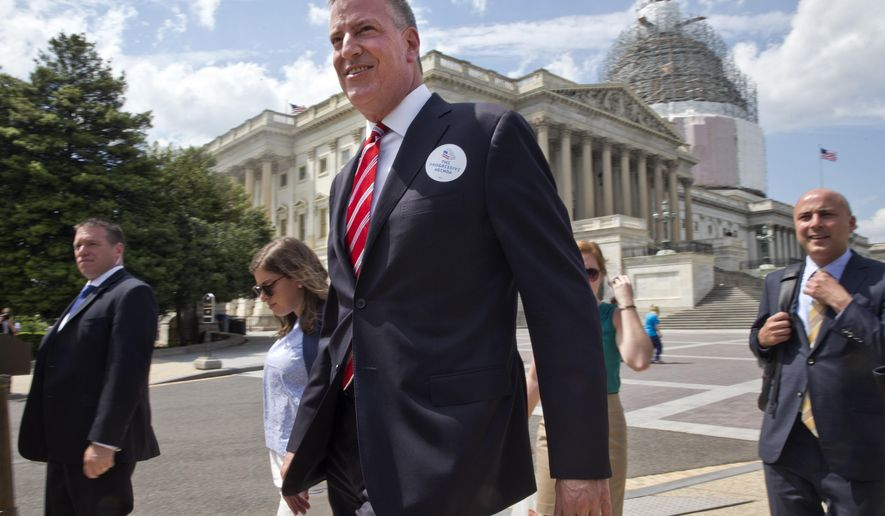 "New York City Mayor Bill de Blasio arrives on Capitol Hill in Washington, Tuesday, May 12, 2015, for a news conference to announce the ""Progressive Agenda"" along with a coalition of backers. (AP Photo/Jacquelyn Martin)"