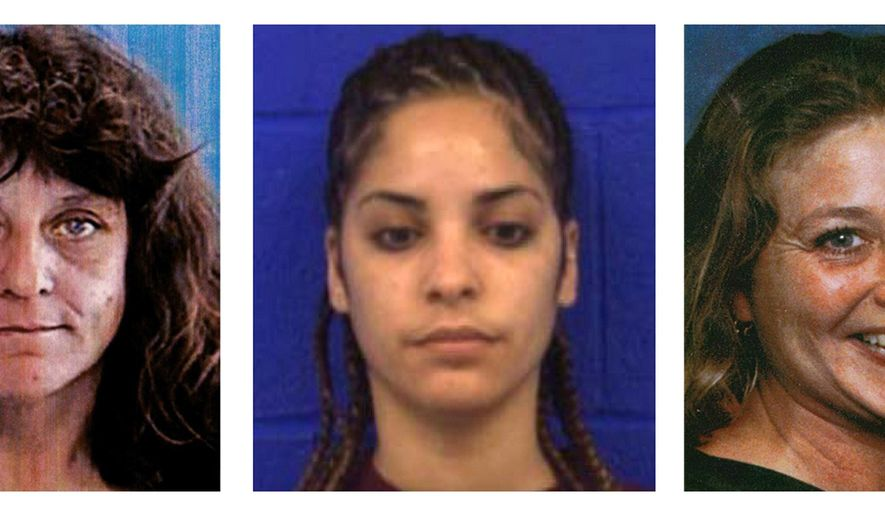 This three photo combination from the State of Connecticut, Division of Criminal Justice shows, from left, Diane Cusack, Joyvaline Martinez and Mary Jane Menard, who are believed to have been murdered by the same offender after they went missing in 2003. The remains of Cusack, Martinez and Menard were found behind a strip mall in New Britain, Conn., during 2007. The remains of at least four more people have been found behind the mall, according to authorities Monday, May 11, 2015, who were investigating a possible serial killer. (State of Connecticut, Division of Criminal Justice via AP)