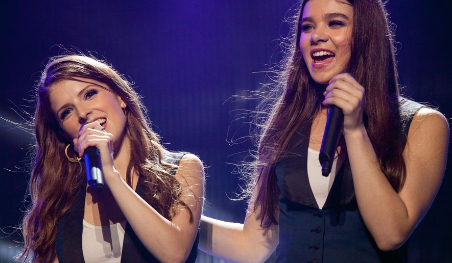 """This photo released by Universal Pictures shows, Anna Kendrick, left, as Beca, and Hailee Steinfeld, as new Barden Bella Emily, in a scene from the film, """"Pitch Perfect 2."""" (Richard Cartwright/Universal Pictures via AP)"""