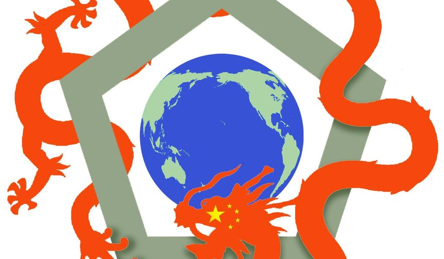 Illustrtation on the need for a U.S.response to China's world strategy by Alexander Hunter/The Washington Times