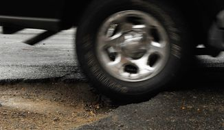 Last winter, the Virginia Department of Transportation filled 146,000 potholes on the 58,000 miles of roads. This year, crews have filled more than 100,000 street craters in Northern Virginia alone. (The Washington Times)