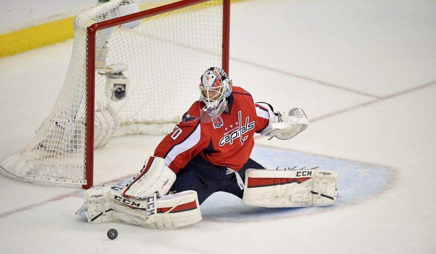 Goalie Braden Holtby, who picked up his second career postseason shutout in Game 4, seeks to lead the Capitals to their first Eastern Conference final since 1998. (Associated Press)