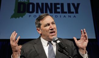 "Sen. Joe Donnelly, Indiana Democrat, defended his vote against Supreme Court Justice Brett M. Kavanaugh by saying he voted ""yes"" on Neil Gorsuch's confirmation to the Supreme Court and on 77 percent of Mr. Trump's judicial nominees. (Associated Press/File)"