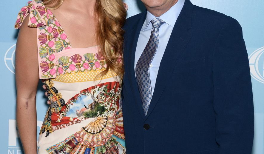 Cat Deeley, left, and Nigel Lythgoe arrive at the Fox Network 2015 Programming Upfront at Wollman Rink in Central Park on Monday, May 11, 2015, in New York. (Photo by Evan Agostini/Invision/AP)
