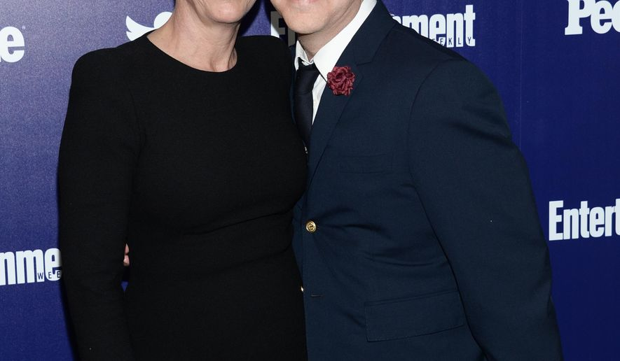 """Scream Queens"" actress Jamie Lee Curtis and producer Ryan Murphy attend the Entertainment Weekly and People New York Upfronts Celebration at The High Line Hotel on Monday, May 11, 2015, in New York. (Photo by Evan Agostini/Invision/AP)"