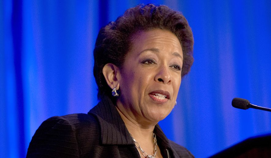 Attorney General Loretta Lynch speaks at the National Forum on Youth Violence Prevention, Tuesday, May 12, 2015, in Arlington, Va. (AP Photo/Jacquelyn Martin) ** FILE **