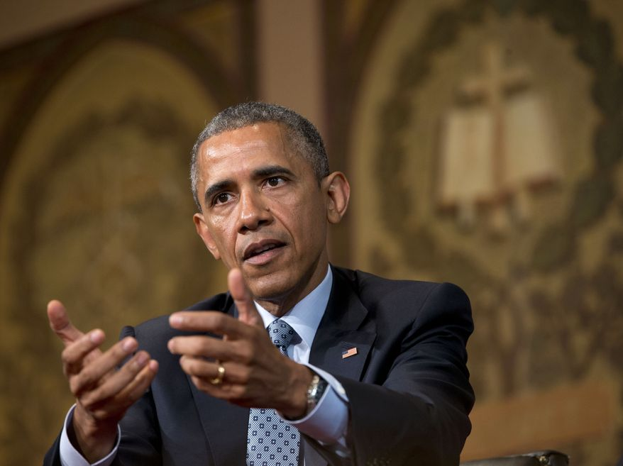 """President Barack Obama speaks at the Catholic-Evangelical Leadership Summit on Overcoming Poverty at Georgetown University in Washington, Tuesday, May 12, 2015. The president said that """"it's a mistake"""" to think efforts to stamp out poverty have failed and the government is powerless to address it.  (AP Photo/Pablo Martinez Monsivais)"""