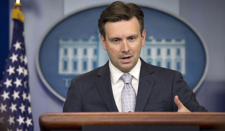White House press secretary Josh Earnest speaks during the daily news briefing at the White House in Washington, Tuesday, May 12, 2015. Earnest discussed the much-anticipated Senate vote on trade, and other topics. (AP Photo/Carolyn Kaster)
