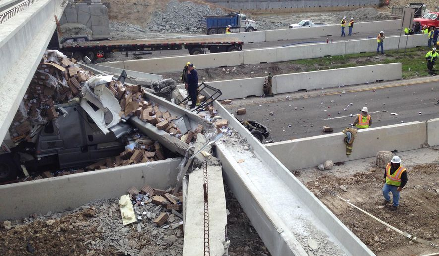 FILE - In this March 26, 2015 file photo, authorities investigate a tractor-trailer that crashed into an overpass under construction, in Salado, Texas. A state report on the March truck accident in Central Texas that brought down an Interstate 35 bridge says the driver was inattentive and hauling an illegal oversize load when his rig caused the collapse. (AP Photo/The Killeen Daily Herald, Clay Thorp, File)