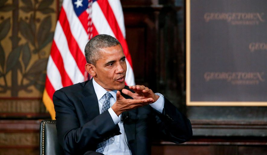"""President Barack Obama speaks at the Catholic-Evangelical Leadership Summit on Overcoming Poverty at Gaston Hall at Georgetown University in Washington, Tuesday, May 12, 2015. The president said that """"it's a mistake"""" to think efforts to stamp out poverty have failed and the government is powerless to address it.  (AP Photo/Andrew Harnik)"""